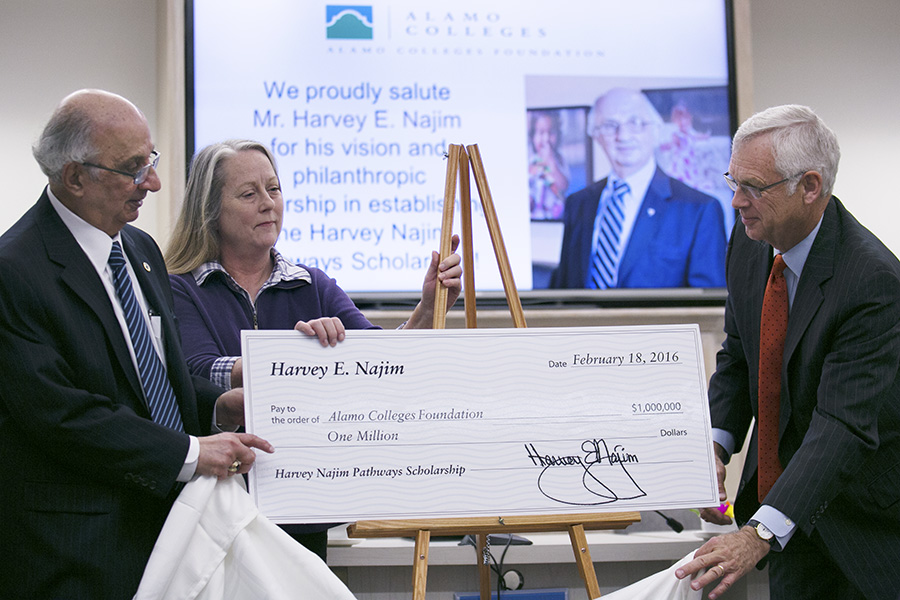 With local philanthropist Harvey E. Najim's donation of $1 million to the Alamo Colleges Foundation, the Harvey Najim Pathways Scholarship will enable 200 students to attend Alamo Colleges and then transfer to one of three local public universities. Photo by Kathryn Boyd-Batstone