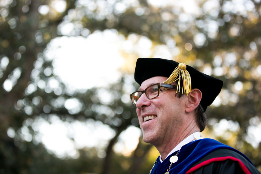 Danny Anderson celebrated his inauguration as 19th President of Trinity University outside with a recessional. Photo by Kathryn Boyd-Batstone