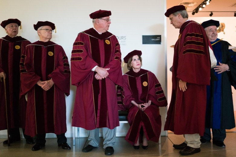 Trinity University Board of Trustees members wait for the commencement of the Inauguration of the Trinity University President. Photo by Kathryn Boyd-Batstone