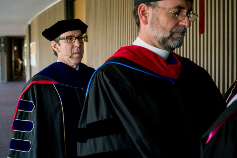 Danny Anderson takes a few deep breaths before entering into the auditorium for his inauguration as 19th president of Trinity University. Photo by Kathryn Boyd-Batstone