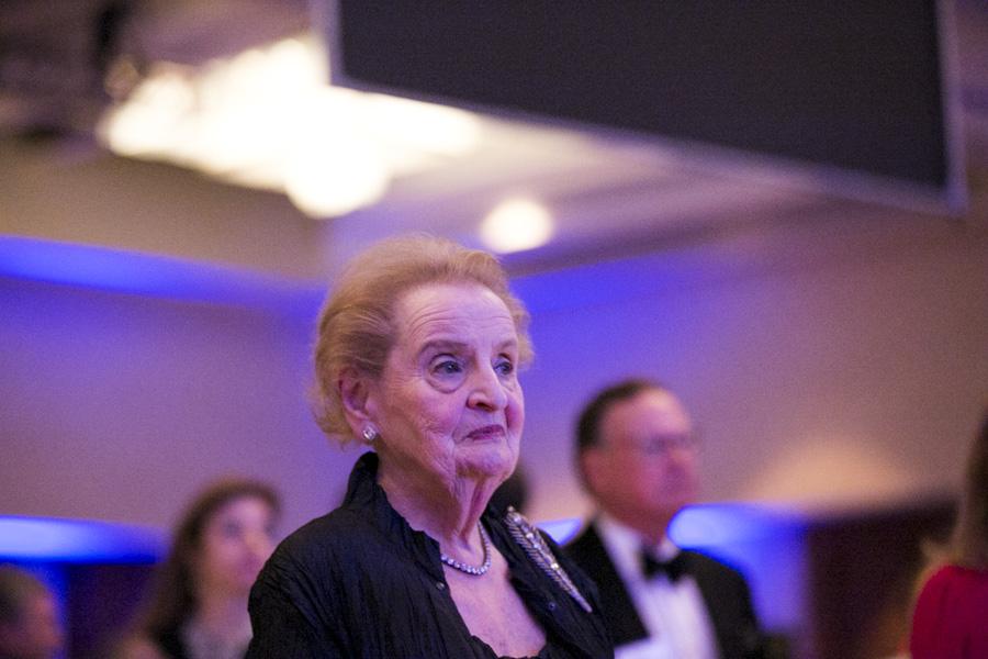 Former Madam Secretary Madeleine Albright stands for the national anthem. Photo by Kathryn Boyd-Batstone