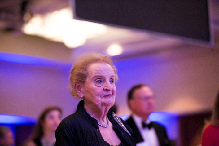 Former Madam Secretary Madeleine Albright stands for the national anthem. Photo by Kathryn Boyd-Batstone