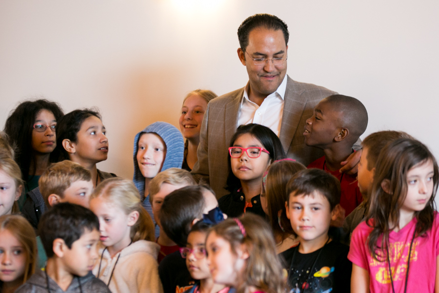 Will Hurd, former undercover CIA operative and US Representative, takes a photo with all the kids before they set off on their mission. Photo by Kathryn Boyd-Batstone