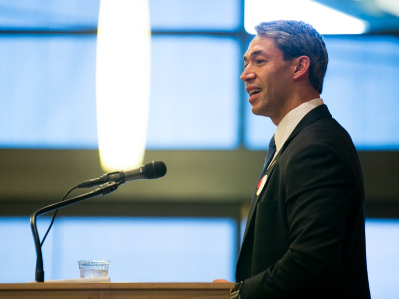 Ron Nirenberg (D8) calls for a substantial down payment on the San Antonio to Austin rail project in 2017 Bond. Photo by Kathryn Boyd-Batstone