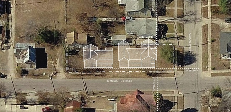 """Context overlay of the """"Residences at Mesquite,"""" five rental units in two buildings. Image courtesy of Logan Fullmer."""