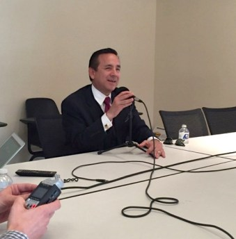 State Sen. Carlos Uresti addresses Democratic challenger Helen Madla's claims about his voting record. Photo by Paul DiGiovanni.