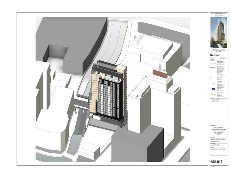 An aerial view of The Canopy by Hilton proposed in downtown San Antonio. Rendering courtesy of Gensler.