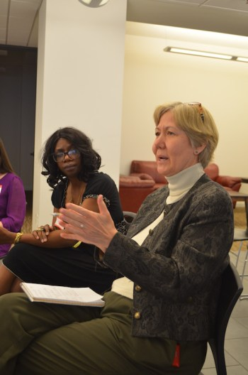 Mary Spaeth, PhD, describes her experience as an immigrant in Sweden. Photo by Camille Garcia.