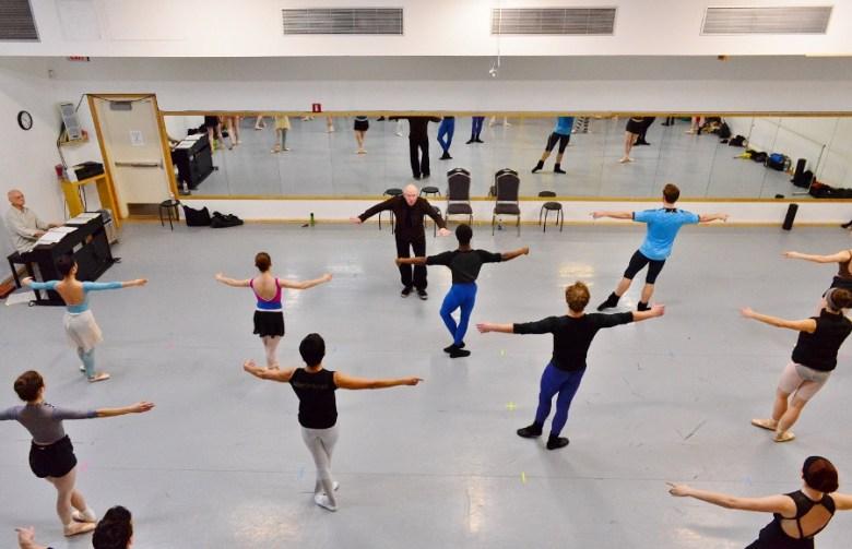 Ballet San Antonio working the floor with Peter Anastos, February 2016. Photo by Tami Kegley.