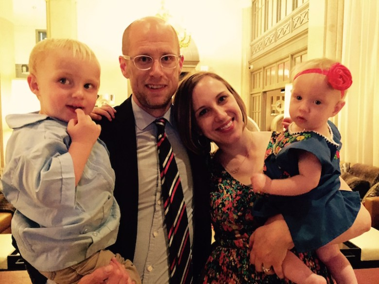 Scott Gustafson and his wife Megan with their two children Abraham, 3, and Kinsey, 18 months. Courtesy photo.