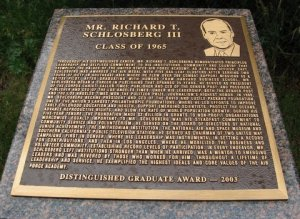 A plaque honoring Richard Schlosberg III. Photo by William Moll.