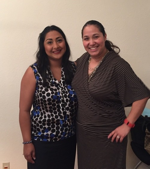 Mari Aguirre-Rodriguez (right) stands with District 116 candidate Diana Arévalo. Photo by Paul DiGiovanni.