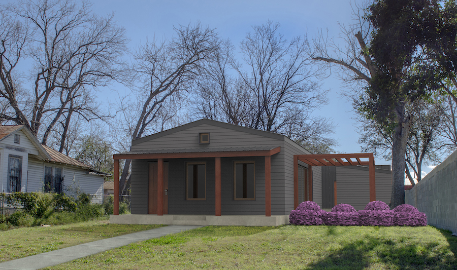 """Rising Barn's cabin and """"accessory dwelling unit"""" in Dignowity Hill. Rendering courtesy of Rising Barn."""