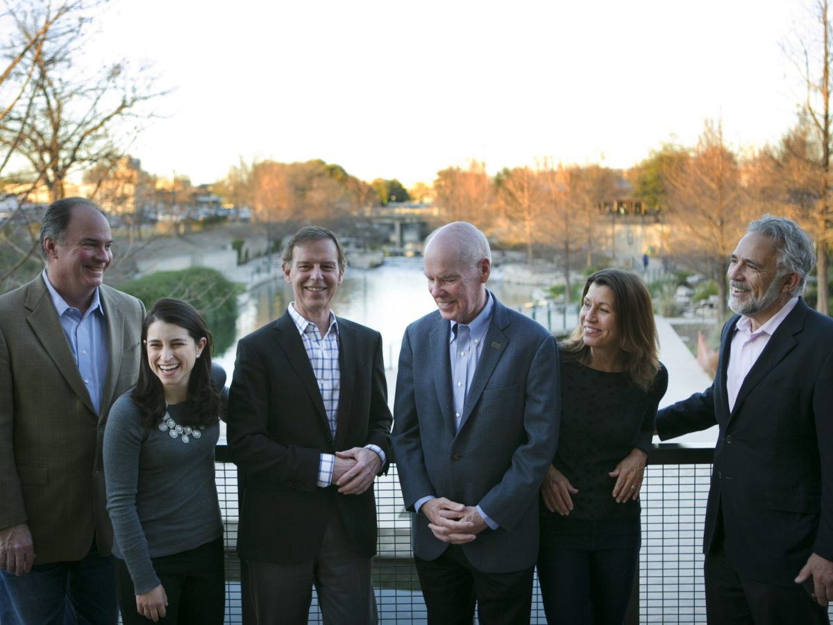 Rivard Report Board members gather on the Museum Reach (from left): Dan Goodgame, Laura Saldivar, John Newman Jr., Richard T. Schlosberg III, Katy Flato, and Robert Rivard (Not shown: Lew Moorman). Photo by Kathryn Boyd-Batstone