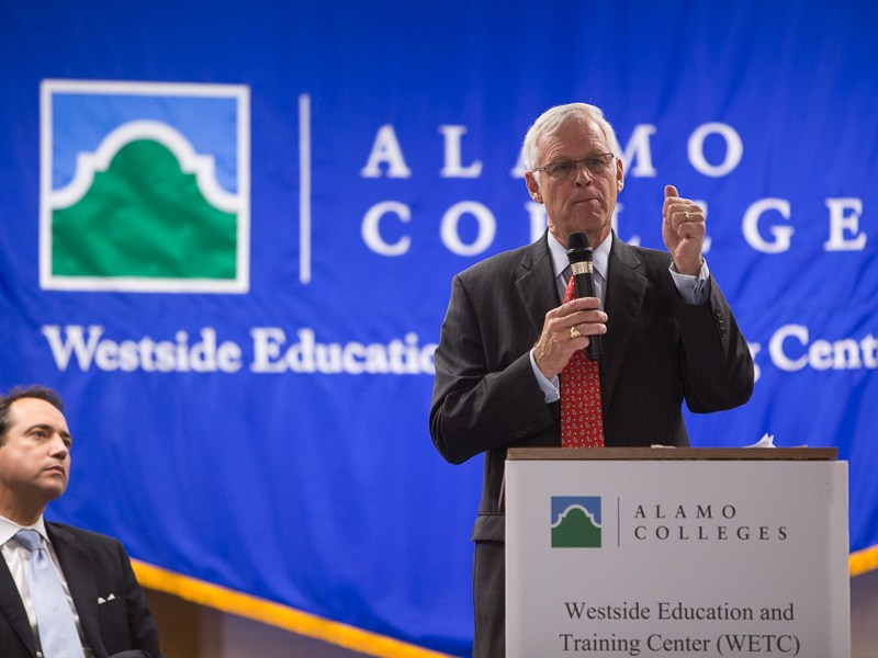 Alamo Colleges Chancellor Dr. Bruce Leslie speaks to the importance of Alamo Colleges' Westside Education and Training Center to the community. Photo by Scott Ball.