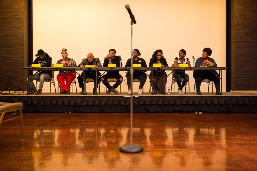 The activist panel (left to right) Mike Lowe, Shun Barrientez, Horace Brown Jr., Kwame Rose, Maureen Akpaka, T. Max McMillan, Tabitha Austin, Ashley Billard. Photo by Scott Ball.