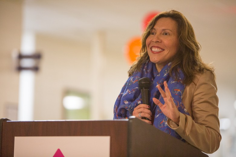 Councilwoman Shirley Gonzales (D5) recalls memories from the Neighborhood Place. Photo by Scott Ball.