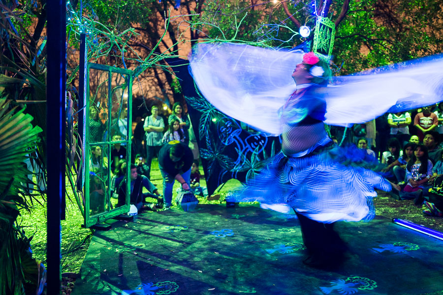 The Zombie Bazaar Panza Fusion performance in the sculpture garden. Photo by Scott Bal.