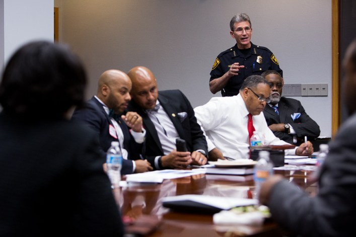 SAPD Chief of Police William McManus recalls his experiences the night of the shooting of Antronie Scott on February 4th. Photo by Scott Ball.