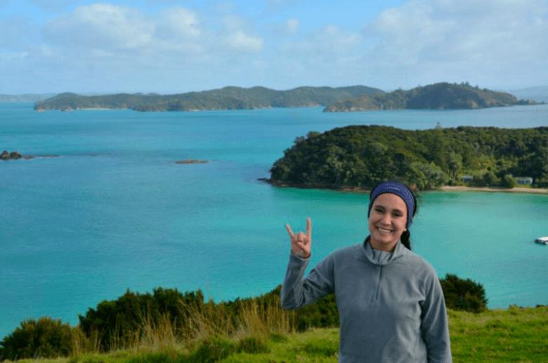 The author at the summit of Mt. Irupukapuka in New Zealand.