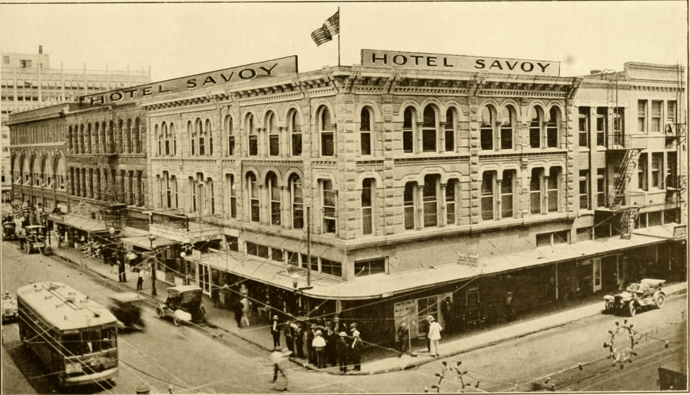 A historic photograph of Hotel Savoy which opened in 1912 as found in the book Greater San Antonio: The City of Destiny and of Your Destination San Antonio: Higher Publicity League of Texas, published 1918. Photo in Library of Congress, public domain.