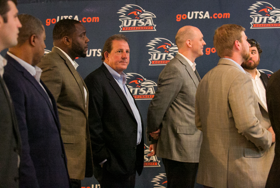 UTSA's new football assistant coaches wait to be called to the stage. Photo by Kathryn Boyd-Batstone