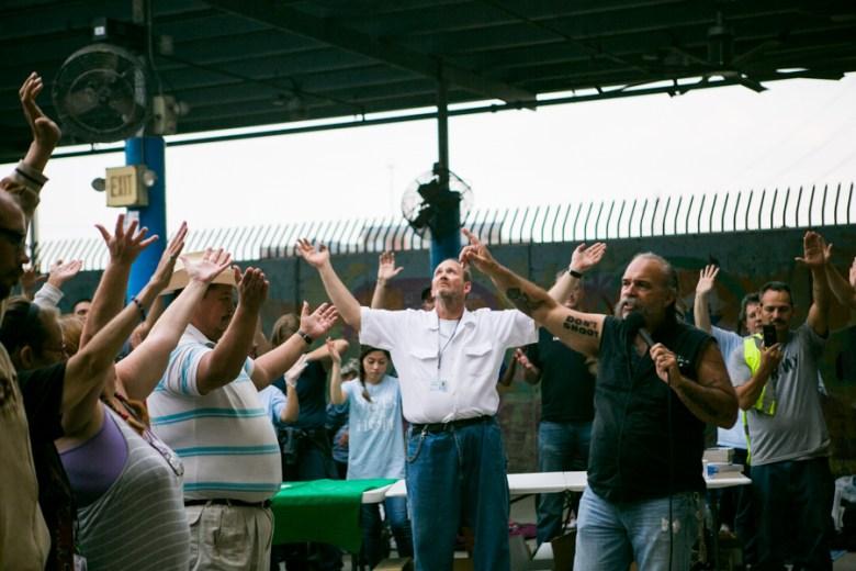 Machine Gun Preacher Sam Childers speaks about how the church saved him. Photo by Kathryn Boyd-Batstone