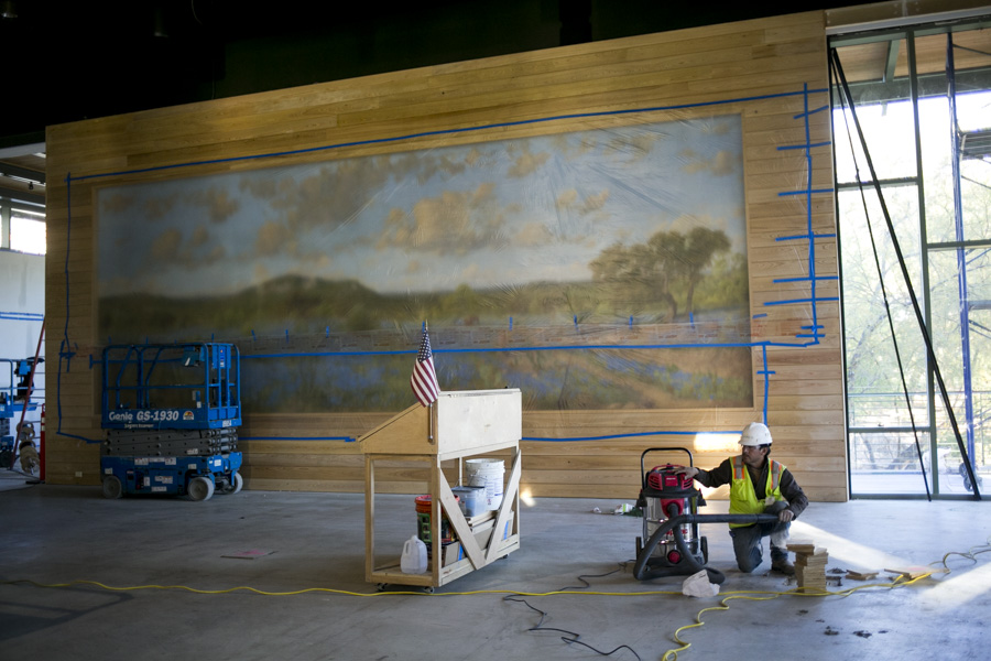 Springtime in Texas, an installation mural by the late Mexican-American painter Porfirio Salinas is installed. Photo by Kathryn Boyd-Batstone