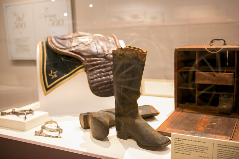 Sam Houston's boots, spurs, saddle blankets and military field desk will be on display at the Battle for Texas: The Experience. Photo by Kathryn Boyd-Batstone