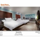 Rendering of a bedroom at the Tru Hotel. Image courtesy of Open Studio Architecture.