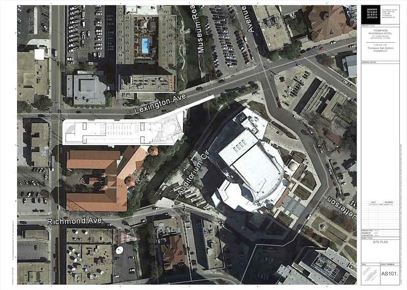 Site map of the narrow property for The Thompson Riverwalk Hotel and condo building. Image courtesy of Powers Brown Architecture.