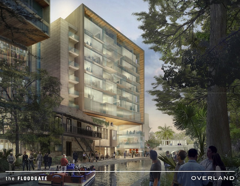 River Walk view of the proposed Floodgate apartments. Image courtesy of Overland Partners.