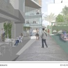 River Walk view of The Floodgate's proposed commercial courtyard. Image courtesy of Overland Partners.