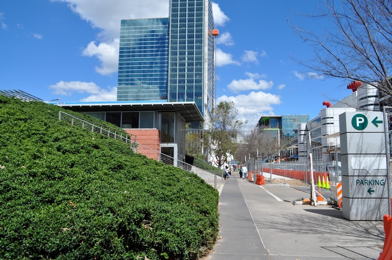 Even the entrance to Discovery Green's underground parking lot in Houston is green. Photo by Iris Dimmick.