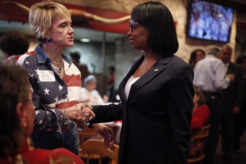 Mayor Ivy Taylor (right) speaks to Texas House Speaker Joe Straus supporter Jan Kirby. Photo by Scott Ball.