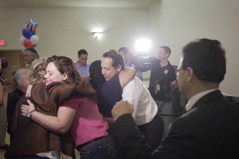 José Menéndez reacts to election results. Photo by Kathryn Boyd-Batstone.