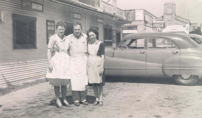 (From left) Rosemary Kowalski, her husband Henry, and her cousin Virginia Rhodes outside of Uncle Ben's BBQ Diner in 1947. Photo courtesy of The RK Group.