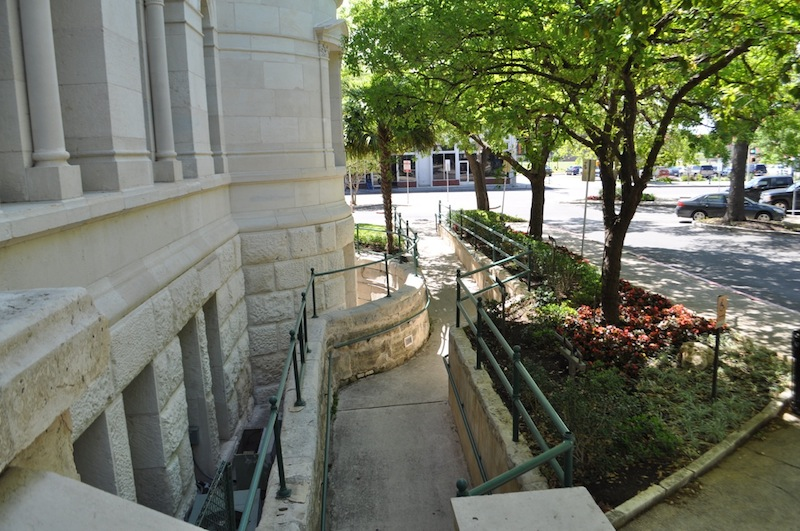The ADA ramp as seen from the back (east) stairway/entrance. Photo by Iris Dimmick.