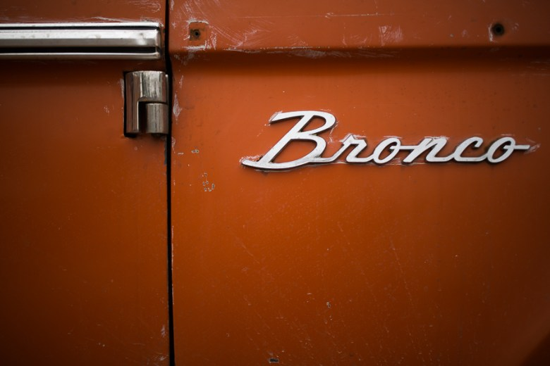 Details like a vintage Ford Bronco sits on the outside patio. Photo by Scott Ball.