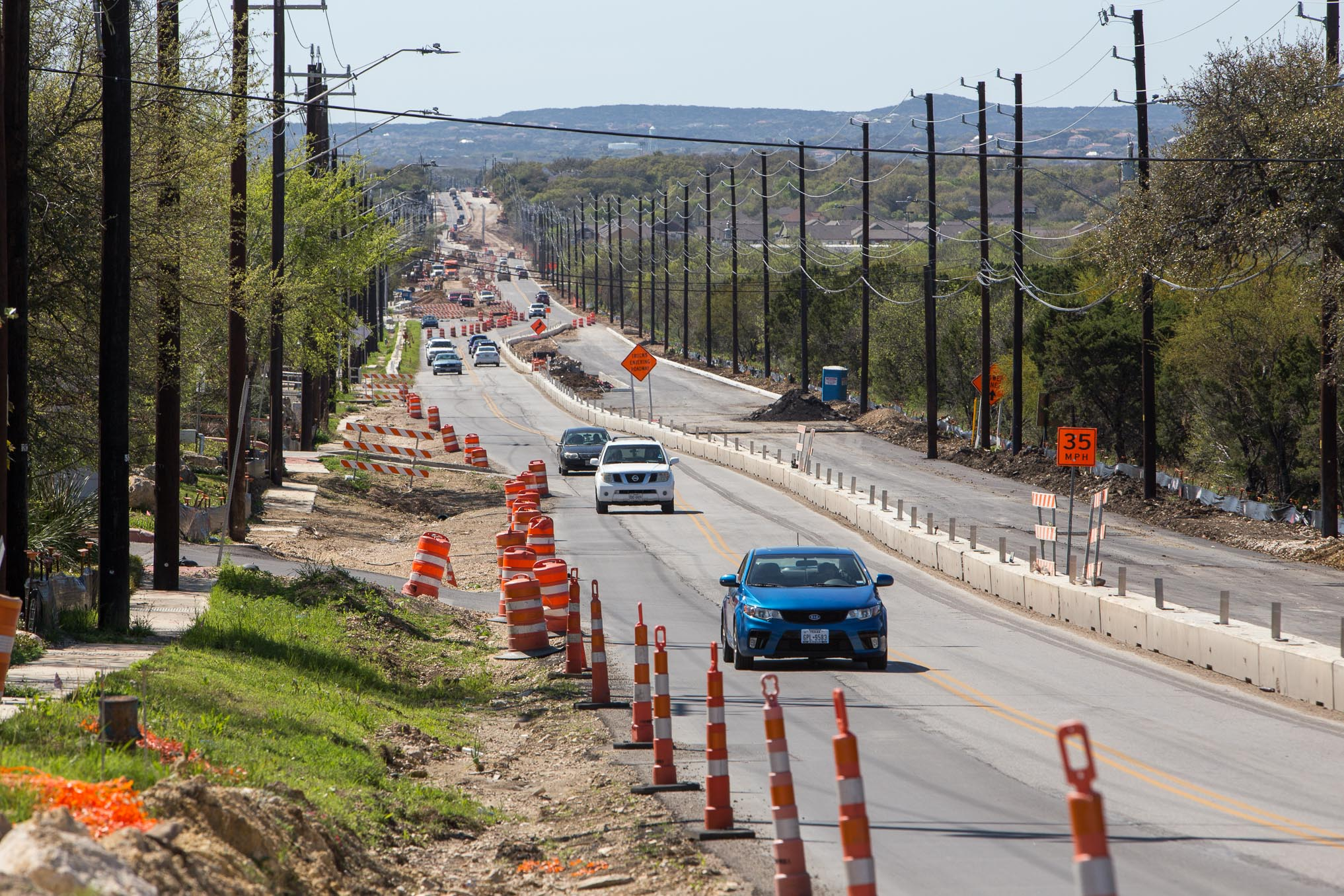 Construction along Hausman Road stretches a long distance. Photo by Scott Ball.