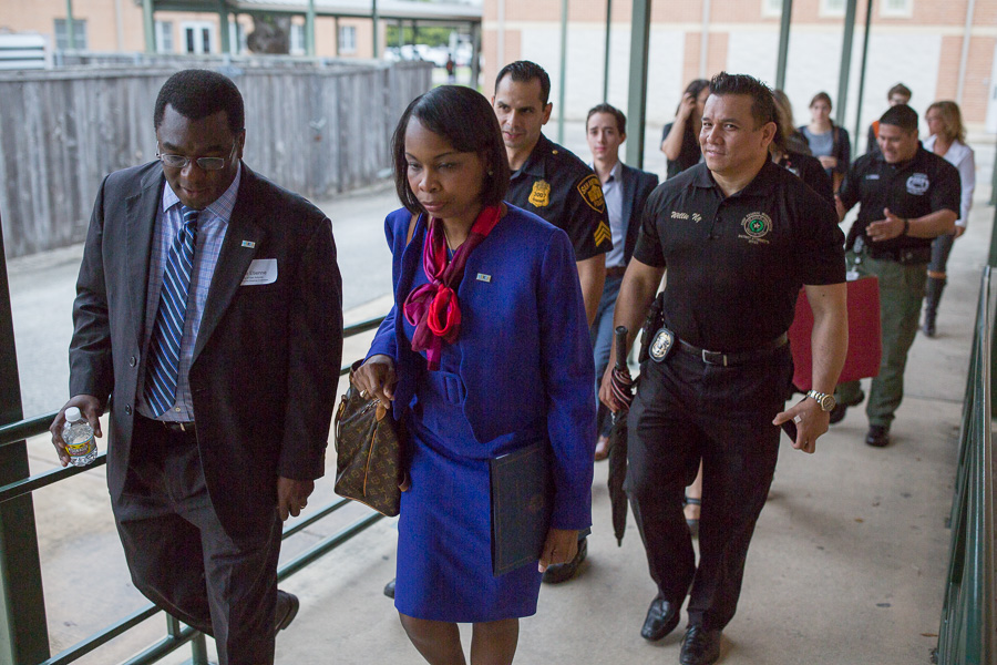Eastpoint Director Mike Etienne walks with Mayor Ivy Taylor to the location of the event. Photo by Scott Ball.
