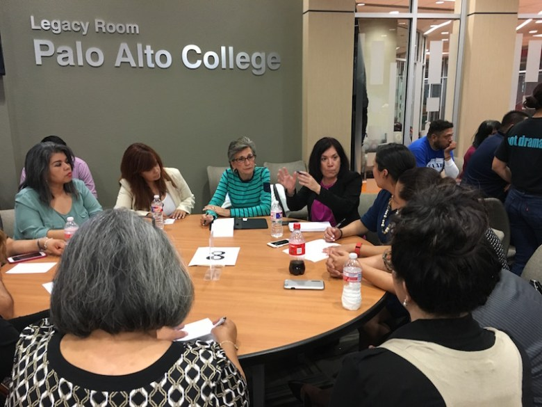 Board members Leticia Guerra (far left), Stacey Estrada, and Connie Prado join a table discussion at the South San Kids First town hall meeting. Photo by Bekah McNeel.