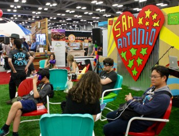 """South by Southwest trade show visitors hang out with the San Antonio """"icehouse"""" volunteers on Tuesday, March 15, 2016. Photo by Edmond Ortiz"""