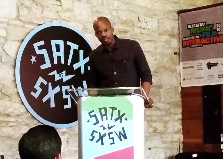 Shokare Nakpodia, creative director/partner at The Mighty Group, makes a solo presentation at Austin's Old School Bar and Grill on Saturday, March 12, 2016. Photo by Edmond Ortiz