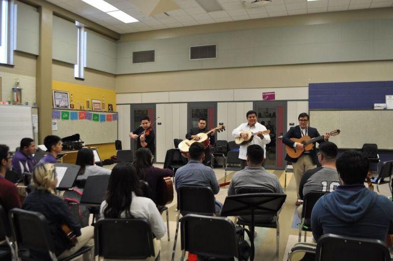Mariachi Aztlan performing for mariachi students from Brackenridge High School. Courtesy photo.