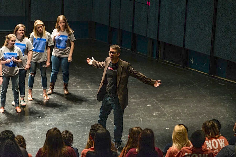 Deke Sharon masterclass in the Carlos Alvarez Studio Theater with choir students from MacArthur and Madison High School. Courtesy Photo.