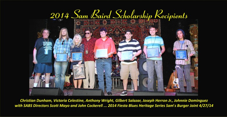 Winners of the Sam Baird Scholarship stand on stage at Sam's Burger Joint with San Antonio Blues Society Directors. Photo courtesy of SA Blues Society