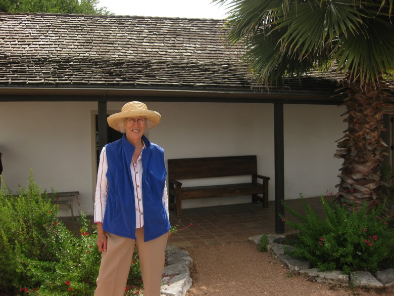 Barb McMillin enjoys the courtyard at Casa Navarro. The property of Jose Antonio Navarro, signer of the Texas Declaration of Independence, once went all the way to the San Pedro Creek. Photo courtesy Barb McMillin.
