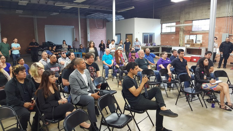 Members of the inaugural Las Raices event take in the opening remarks at SASG @ CO-LAB.  Photo courtesy of SASG