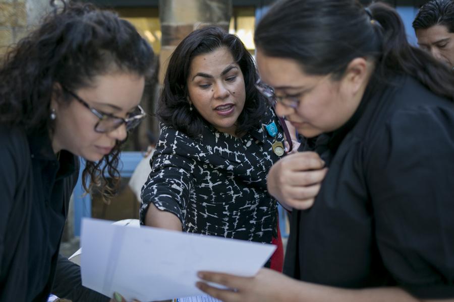 Councilwoman Rebecca J. Viagran (D3) points out Mission San Jose on a map. Photo by Kathryn Boyd-Batstone